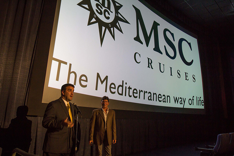MSC Cruises - appreciated Platinum Sponsor of Cinema Italy. Ralph Aliseo, associate director of national and strategic accounts at MSC Cruises USA talks to the audience.<br />