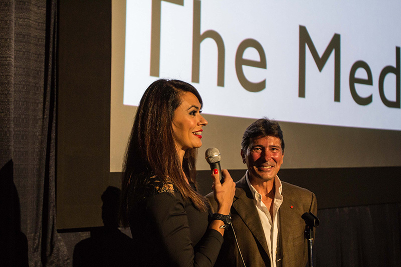 Cinema Italy's godmother - actress & producer Maria Grazia Cucinotta visiting our audience at the Regal Cinema Miami Beach  <br />
