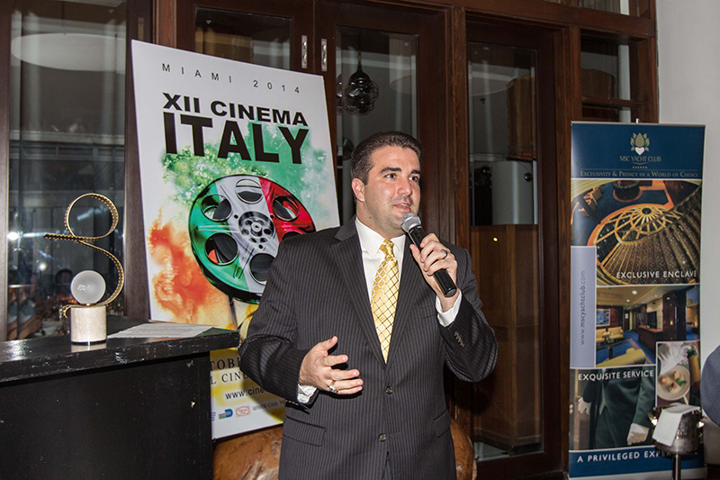 MSC Cruises - appreciated Platinum Sponsor of Cinema Italy. Ralph Aliseo, associate director of national and strategic accounts at MSC Cruises USA at the Closing Dinner at Bianca Restaurant at Delano Hotel <br />