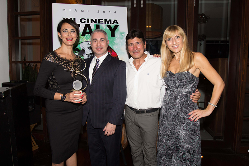 Cinema Italy's godmother - actress & producer Maria Grazia Cucinotta, Josh Fernandez, Business Development Manager at MSC Cruises USA, Platinum Sponsor of Cinema Italy, Claudio Di Persia, President & Artistic Director, Elena Meier, Sponsorship & Events<br />
