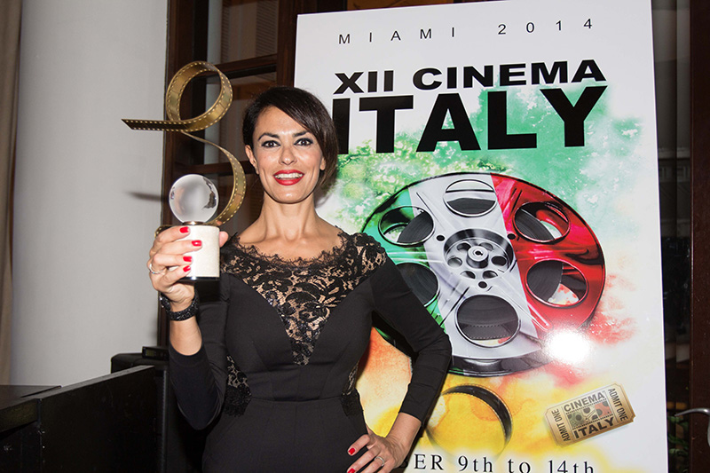 Cinema Italy's godmother - actress &amp; producer Maria Grazia Cucinotta at the Closing Dinner at Bianca Restaurant at Delano Hotel - presenting the Audience Award of XII Cinema Italy  <br />