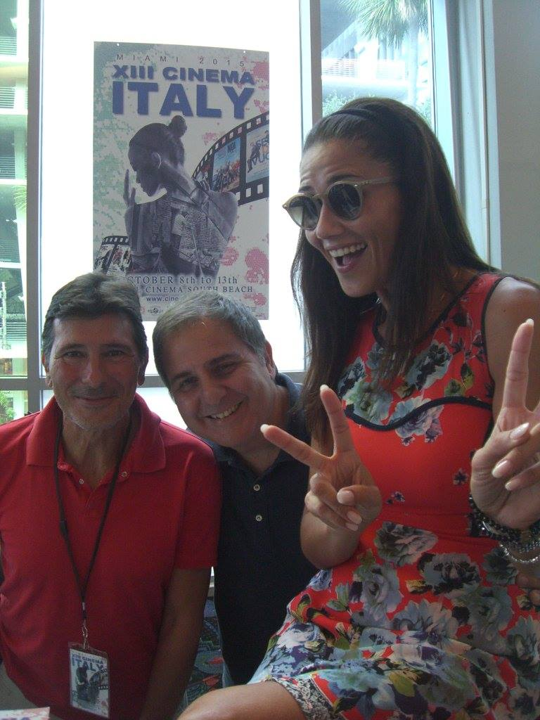 Meet & Greet with Barbara Tabita: Leading actress of Italo Barocco surprised our Cinema Italy audience in the theatre, presenting the film. Here with Claudio Di Persia and Antonio Flamini.<br />