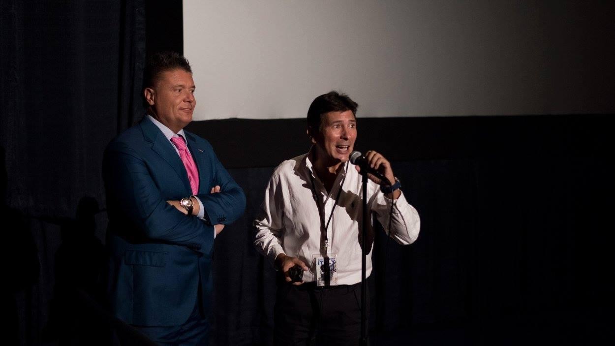 At the screening venue Regal South Beach Cinema  - Claudio Di Persia with Pietro Borroni producer of