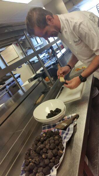 Closing Night @Bianca at Delano -  Delano Chef Jason Bamford preparing the first Italian truffles of the season, extra flown in from Italy by Urbani Truffles.<br />