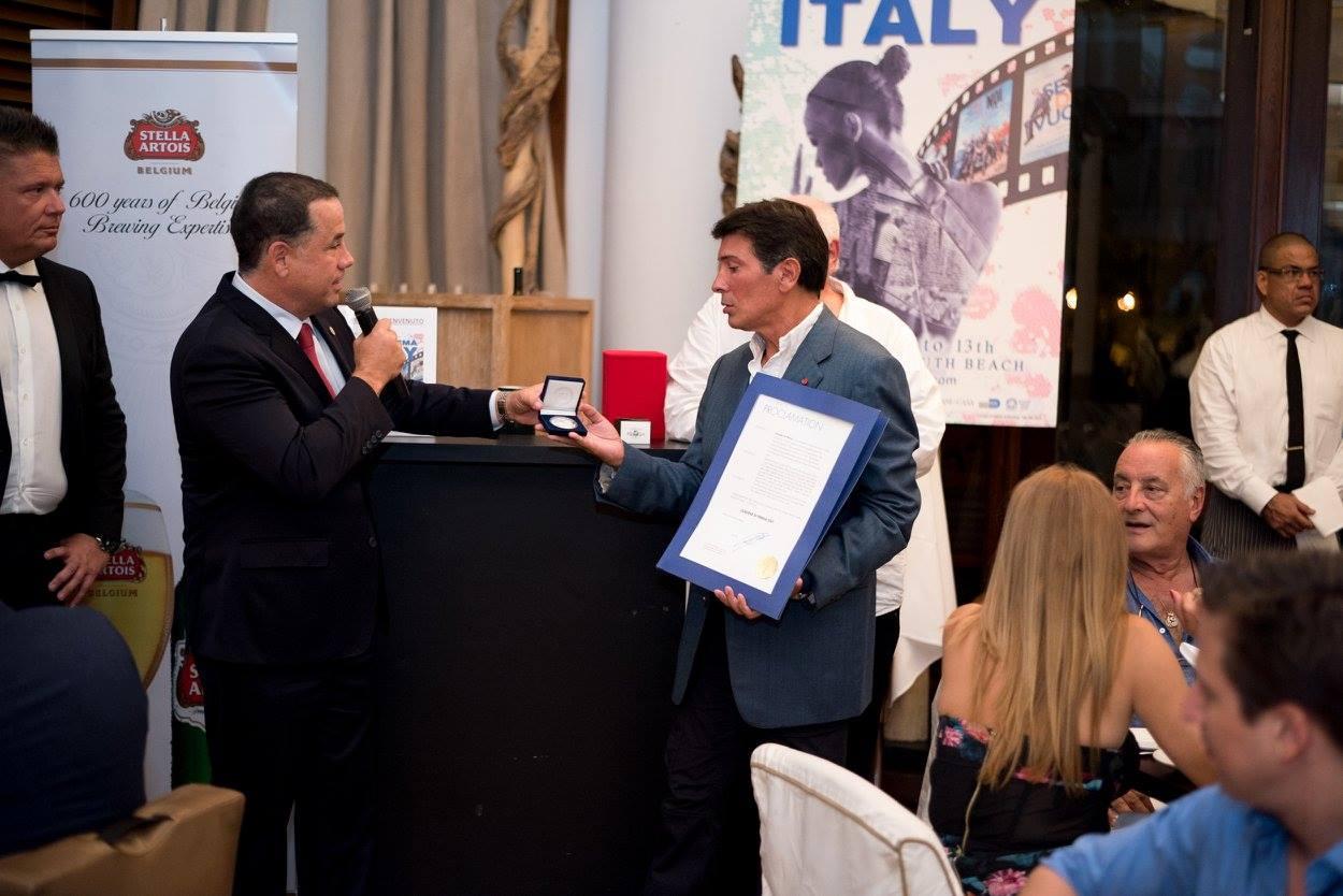 Closing Night @Bianca at Delano -  here with the City of Miami Beach Mayor Philip Levine honoring Claudio Di Persia - Photo Courtesy Dagostino Communication<br />